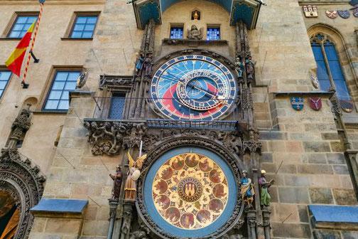 Prag, Altstadt, Die Traumreiser, Altstädter Rathaus, Rathausuhr, historisch