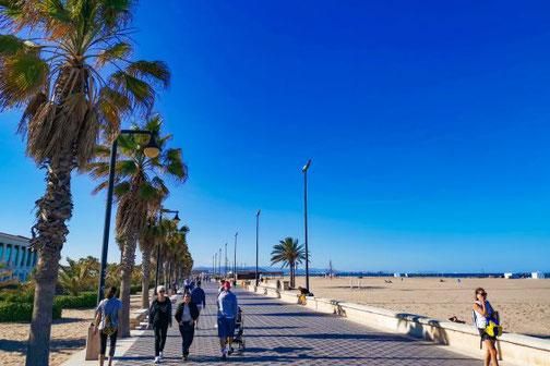 Die Strandpromenade von Valencia