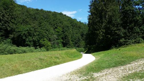 Der Wanderweg scheint frisch gestrichen...