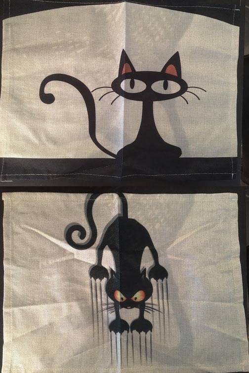 2 von 2 verschiedenen Platzsets mit Katzenmotiv