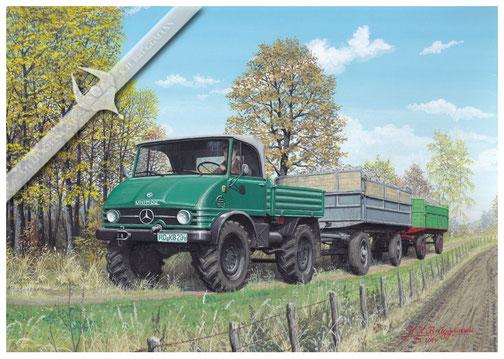 Unimog U 406 in der Zuckerrüben-Kampagne 1969, Aquarell