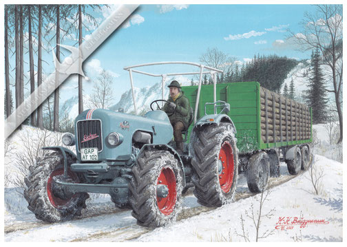 Eicher Mammut 2 EA 600, mit Holztransport in Oberbayern, 60er Jahre, Aquarell.