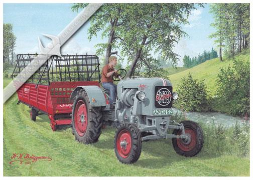 Eicher ED 26 mit Landsberg-Ladewagen, Anfang der 60er Jahre, Aquarell.
