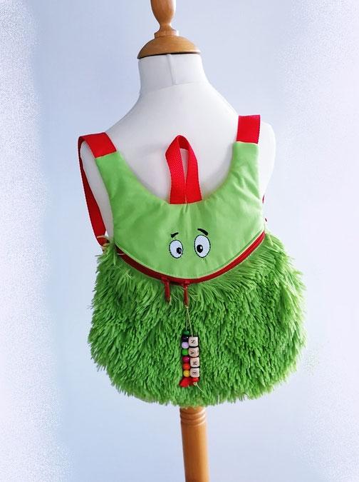 Kinderrucksack Fuchs, hellgrüner Canvas, zwei Reißverschlüsse,