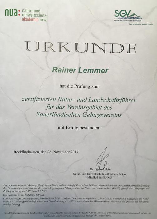 Zertifizierter Natur und Landschaftsführer Rainer Lemmer