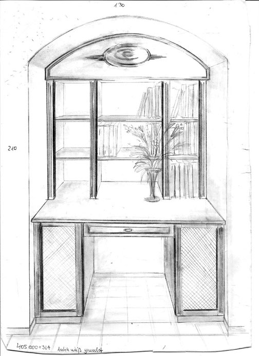 Handzeichnung eines Möbels