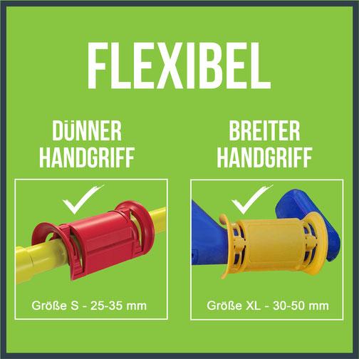 Clipeez - flexibel für dünnere und breitere Handgriffe am Einkaufswagen