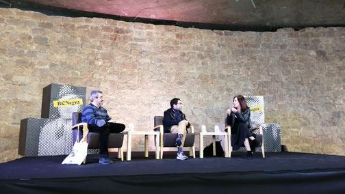 D'esquerra a dreta: Pablo Fernàndez Sopuerta, Xavi Vidal i Mercedes Corbillón