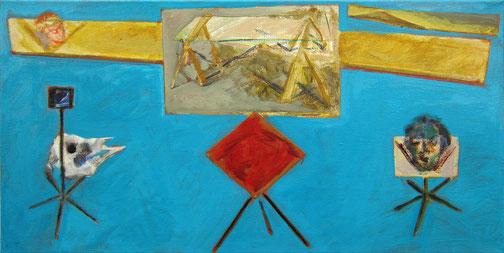 Studie Dreitafel 1988 - 2015 #1 Ölfarbe 48 x 95 cm