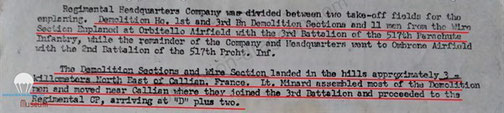 After action reporting that Demolition platoon was split in 2 parts and mentionning second part was dropped 20 miles north of the drop zone.
