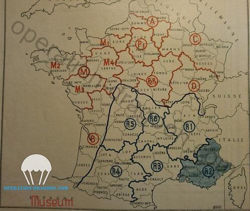 Carte des réseau de la résistance retrouvé dans le dossier R2 ministère de la défense.