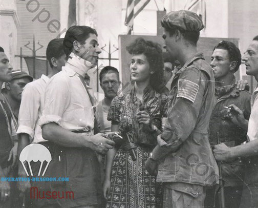 Marc Raynaut Chief Free french of St Tropez, Nicole Celebonovich, second in command and 509th paratrooper Winfred D. EASON. after the liberation of the town.