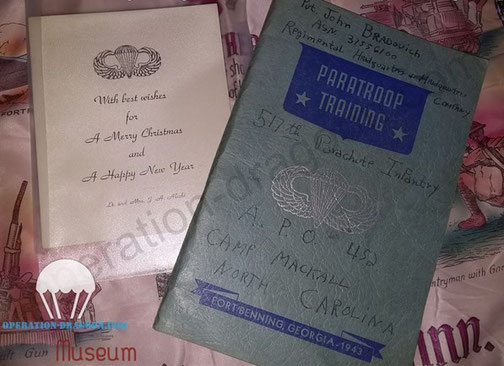 John BRADOVICH Fort benning booklet with gradutation jumps list, and John Alicky 1943 christmass card.