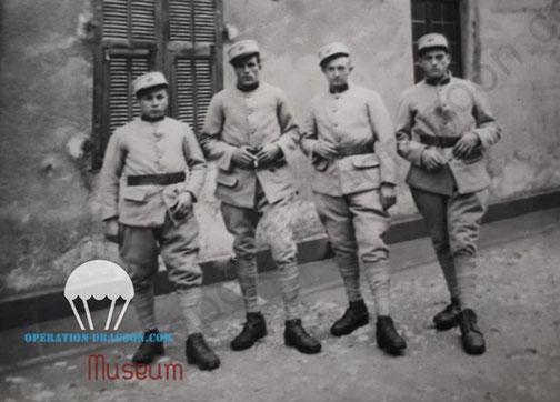 Fernand RICCO à gauche avec des camarades à la caserne du 157em R.A.P.