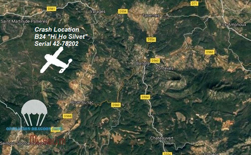 Localisation du crash du 24 Hi Ho Silvet. Triangle Brue Auriac, Varages, Saint Martin de Pallière