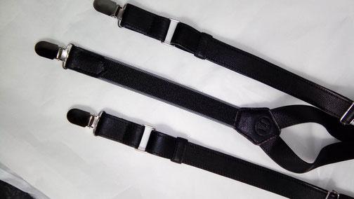 fabrication française de bretelles en cuir noir par l'atelier artisanal ml-sellier artisanal