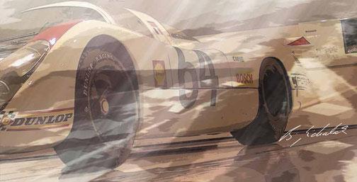 Digital bearbeitete Fotografien bekannter Porsche-Rennwagen