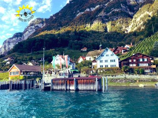 Quinten am Walensee bei Zürich in der Schweiz ist nur mit dem Schiff zu erreichen..
