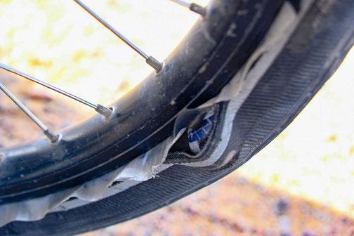 problème mécanique à vélo, dechirure latérale du pneu