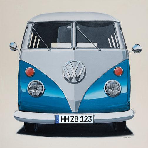 Leinwanddruck VW dunkelblau. Das Unikat ist durch 7 wählbare Farben und individuelles Kennzeichen.