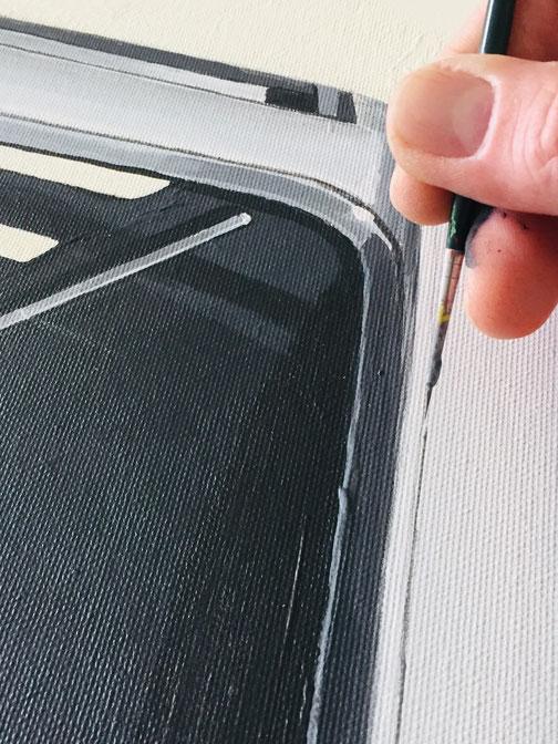 Leinwanddruck VW T1 Detailarbeiten mit dem Pinsel