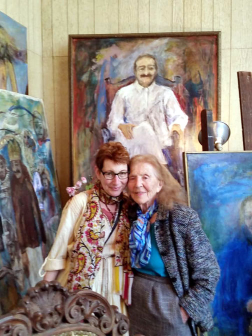 Phyliss in her art studio with Marla Faith