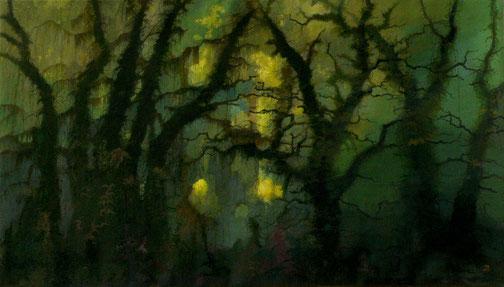 """Martin Guido Becker, """"Waldstück,"""" 2012, Öl/Lwd, 80/140 cm"""