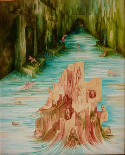 """""""La Source"""". 100 x 81 cm. Huile sur toile."""