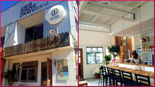 オカユスタンド店頭(左)と1階店内(右)