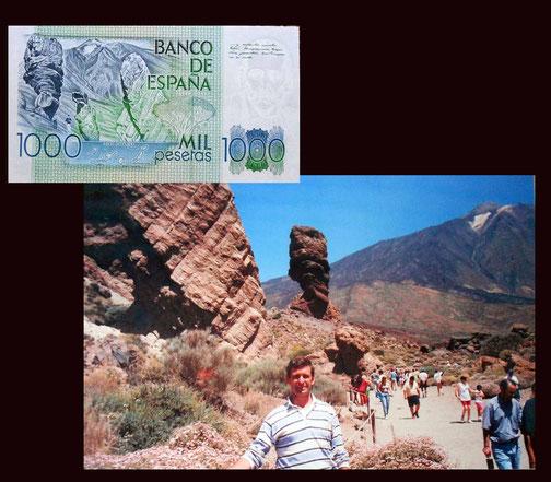 El Roque Cinchado en el Teide en Tenerife en el billete de 1000 pesetas de 1979