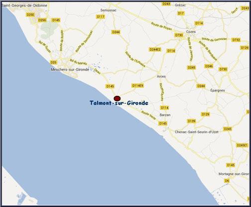Carte de situation de Talmont-sur-Gironde, Charente-Maritime