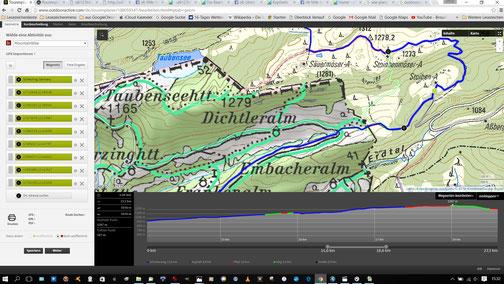 outdooractive punktet mit Topo-Karte, Zusatzebene zeigt MTB-fahrbares Wegenetz