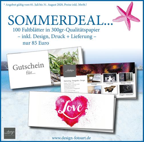 design und fotoart Bad Dürkheim Sommerdeal Faltblatt Juli bis August 2020