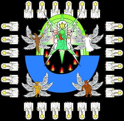 Les 4 êtres vivants sont 4 chérubins et les 24 anciens correspondent aux 144'000 rois et prêtres qui règneront avec Jésus, ces êtres spirituels élevés ont, tout comme Jésus et le Tout-Puissant, une voix semblable à de grandes eaux ou à une multitude.