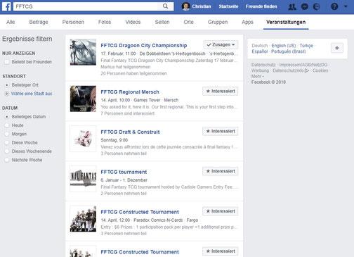 Aktuelle Suchergebniss zu FFTCG bei Facebook-Veranstaltungen: Alte Veranstaltungen, Veranstaltungen im Ausland, alles womit ein Neuling kaum was anfangen kann.
