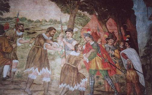 Der König der Guanchen ergibt sich Alonso Fernández de Lugo (Teneriffa) / © wikimedia commons