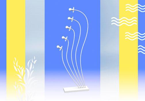 Un lampadaire original à cinq ampoules basse consommation qui ressemble à un végétal.