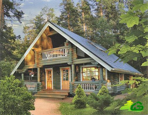 casa con troncos de madera