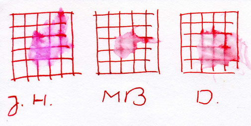 Links Rouge Hematite; Mitte Montblanc Corn Poppy Red und rechts Diamine Matador
