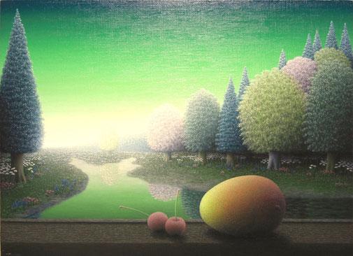 「若草色に煌く」 油彩・キャンバス P8