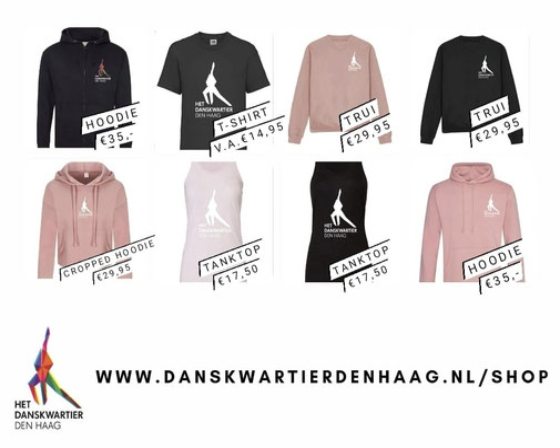Bestel onze t-shirts en hoodies in onze webshop!