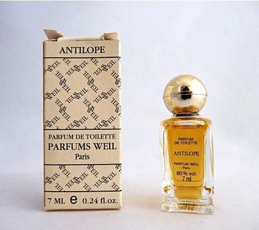 WEIL - ANTILOPE : PARFUM DE TOILETTE 7 ML, MINIATURE SUR PIED-DOUCHE AVEC BOUCHON BOULE DORE