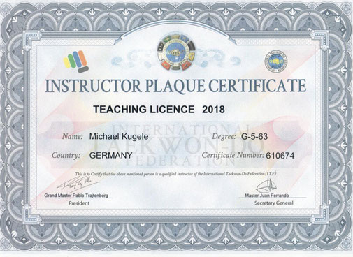 Instructor Plaque Certificate von Michael Kugele