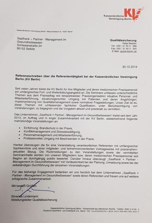 Referenzschreiben der KV Berlin vom 30.10.2019