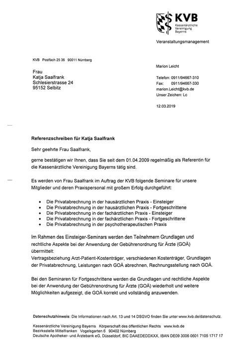 Referenzschreiben der KV Bayern vom 12.03.2019