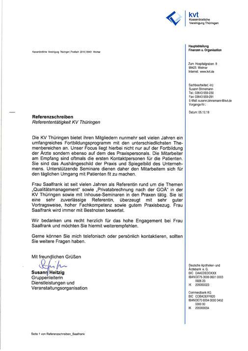 Referenzschreiben der KV Thüringen vom 05.12.2018