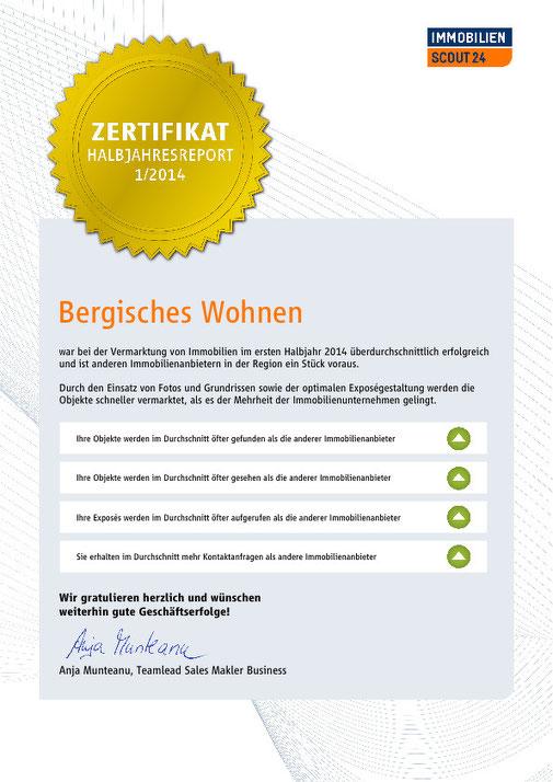 Premium Partner Bergisches Wohnen Auszeichnung 2014 Immobilienmakler Ulrike Peters