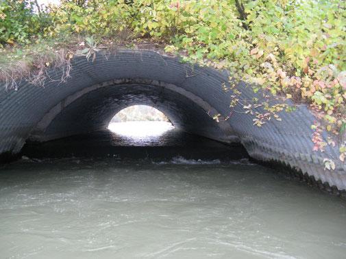 """""""Tunnel""""-Wehr: Aufwärts tragen, abwärts fahren."""