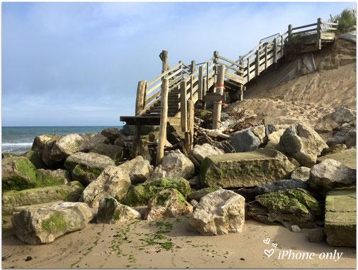 de toegang naar het vroegere bunker-strand is eigenlijk afgesloten