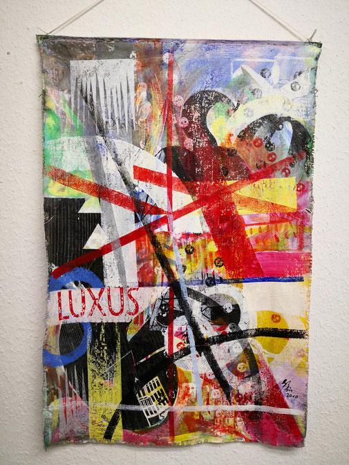 Galerie Bernd Lutze - Ohne Titel, bis 2010 Acryl, Holzdruck, Rollendruck über Landkarte 71 cm x 47 cm